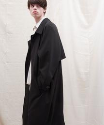 オーバーサイズ ストレッチサテン ヨークデザインルーズスリーブ ロングバルマカンコート EMMA CLOTHES 2021 S/Sブラック