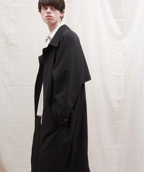 オーバーサイズ ストレッチサテン ヨークデザインルーズスリーブ ロングバルマカンコート EMMA CLOTHES 2021 S/S