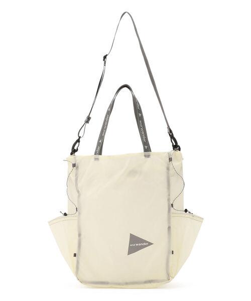 and wander(アンドワンダー)の「andwander/アンドワンダー sil tote bag シルトートバッグ(トートバッグ)」 ホワイト