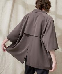 TRストレッチ ビッグシルエット ラグランスリーブ ヨークトレンチシャツ/バックロングベンツ(1/2 Sleeve) EMMA CLOTHES 2021 SUMMERスモークグレー