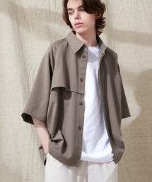 TRストレッチ ビッグシルエット ラグランスリーブ ヨークトレンチシャツ/バックロングベンツ(1/2 Sleeve) EMMA CLOTHES 2021 SUMMERブラウン系その他