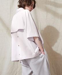 TRストレッチ ビッグシルエット ラグランスリーブ ヨークトレンチシャツ/バックロングベンツ(1/2 Sleeve) EMMA CLOTHES 2021 SUMMERライラック