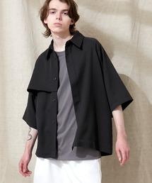 TRストレッチ ビッグシルエット ラグランスリーブ ヨークトレンチシャツ/バックロングベンツ(1/2 Sleeve) EMMA CLOTHES 2021 SUMMERブラック