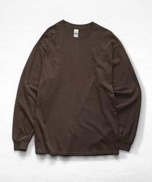 ギルダン ビッグシルエット USA ロングスリーブ Tシャツ カットソー 無地T トップス Tシャツダークブラウン