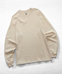 ギルダン ビッグシルエット USA ロングスリーブ Tシャツ カットソー 無地T トップス Tシャツサンドベージュ
