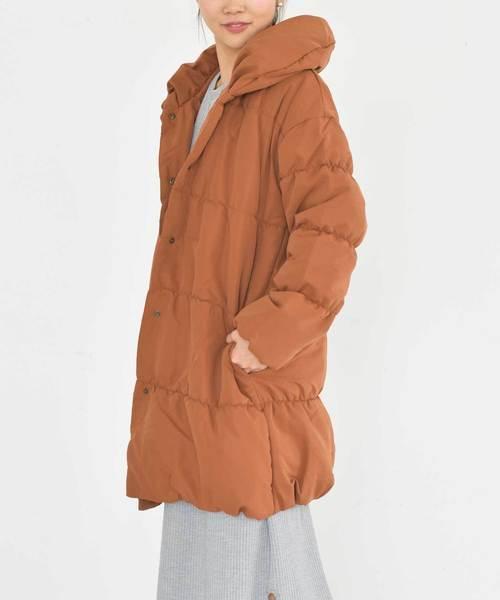 ・ショールカラー中綿ロングコート ○