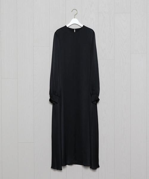 <H>SATIN FLARE DRESS/ワンピース