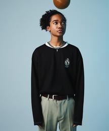 ポンチローマ オーバーサイズ 切り替え Footballロゴカットソー L/S (EMMA CLOTHES)ブラック