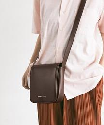 シンセティックレザー スクエア フラップ ミニ ショルダーバッグ EMMA CLOTHES 2021 A/Wダークブラウン