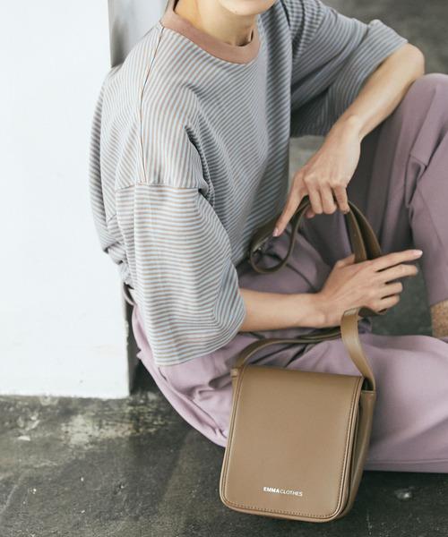 シンセティックレザー スクエア フラップ ミニ ショルダーバッグ EMMA CLOTHES 2021S/S