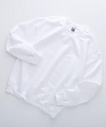 ギルダン USA ビッグシルエット ロングスリーブプルオーバークルースウェット(裏起毛)ホワイト