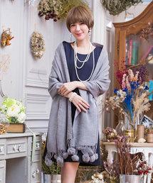 2e987291b3881 DRESS STAR(ドレス スター)の「ファーポンポン付き暖かパーティー大判ストール(