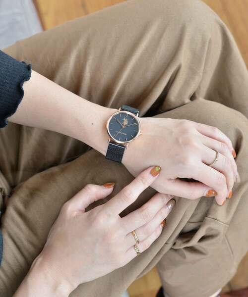 U.S. POLO ASSN.(ユーエスポロアッスン)の「【U.S. POLO ASSN.】ユーエスポロアッスン 腕時計 メッシュベルト 36mm クォーツ(アナログ腕時計)」|ブラック×ゴールド