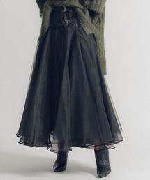 la belle Etude(ラベルエチュード)の【LA BELLE ETUDE】【Belle vintage】ベルトデニムドッキングボリュームチュール×オーガンジースカート【低身長向けSサイズあり】(デニムスカート)
