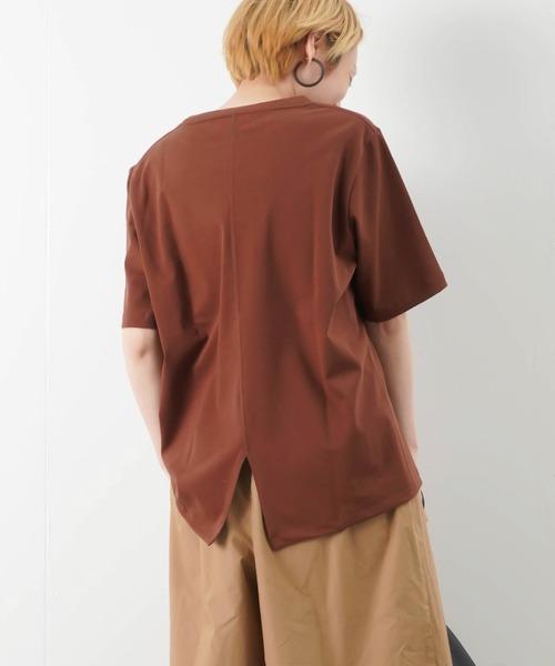 unfil(アンフィル)の「unfil アンフィル オーガニックコットン ジャージーベーシックTシャツ(Tシャツ/カットソー)」 ブラウン