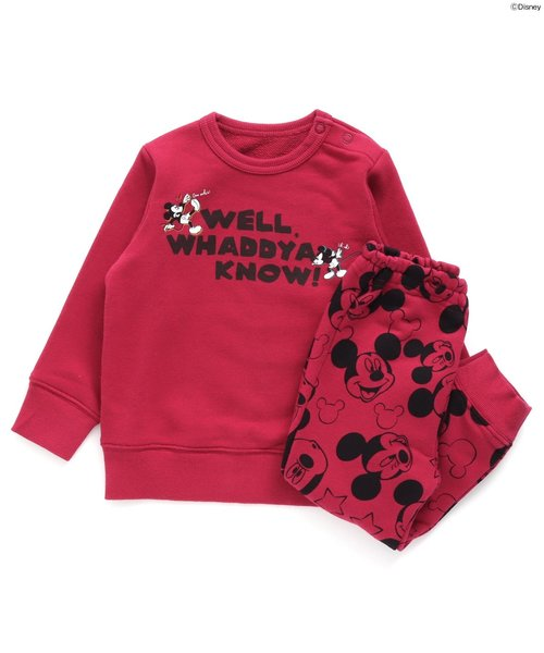 Ampersand(アンパサンド)の「Disney(ディズニー) 4色2柄パジャマ(ルームウェア/パジャマ)」 ワインレッド