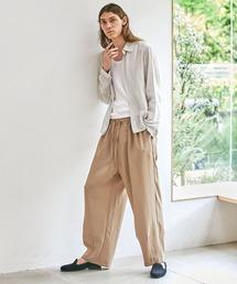 テックリネン ワイドシルエットダーツタックバルーンパンツ EMMA CLOTHES 2021S/Sベージュ