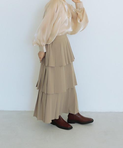 3段プリーツスカート