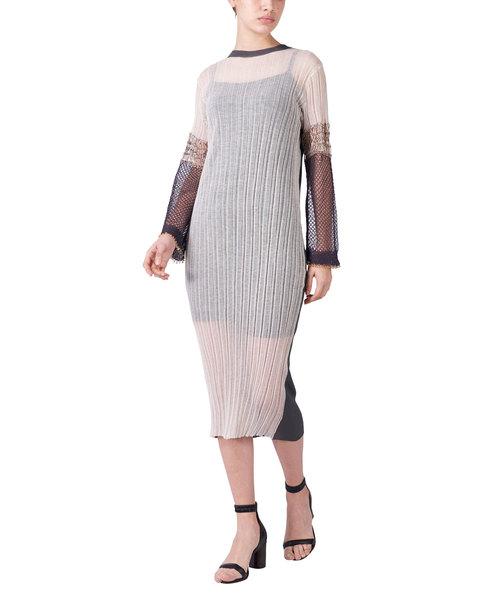 STAIR LAME ラメメッシュニットドレス