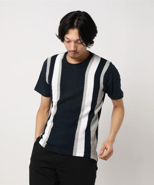 セマンティックデザイン/semantic design 半袖前身ニット縦切替クルーネックTシャツ