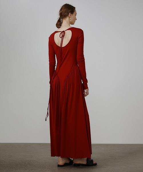 【UNSPOKEN】Open back pleated design dress UQ21L005