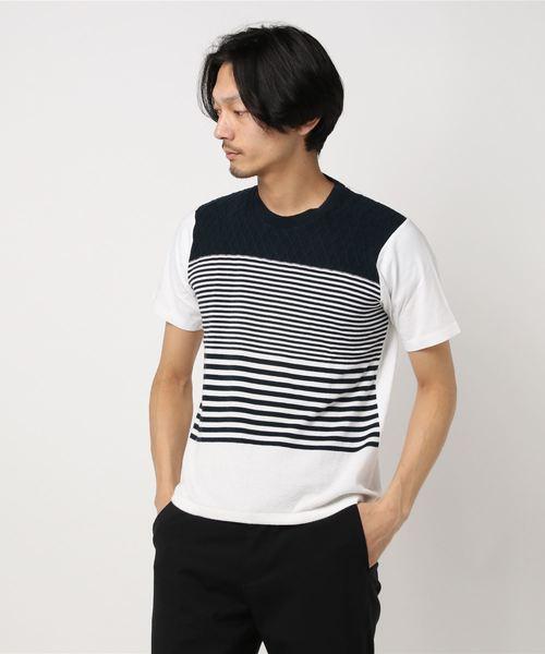 セマンティックデザイン/semantic design 前身ニット横切替ボーダークルーネック半袖Tシャツ