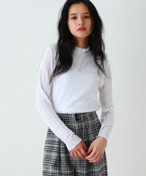 OZOC(オゾック)の「【洗える】フリルハイネックレースリブプルオーバー(Tシャツ/カットソー)」|オフホワイト