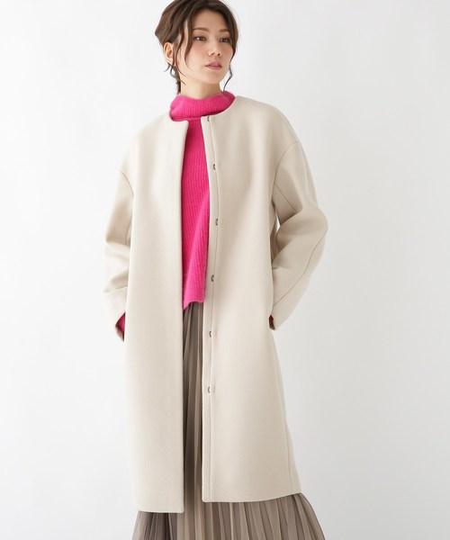 【STORY12月号掲載】ウール混ロングノーカラーコート