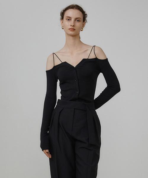 【UNSPOKEN】Double strap open shoulder knit UQ21S018