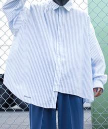Perushu(ペルーシュ)のリフレクターロゴストライプアシメシャツ(シャツ/ブラウス)