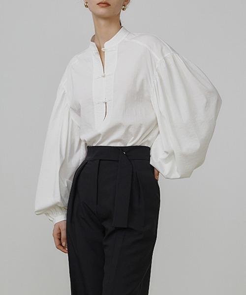 【UNSPOKEN】Chinese button puff sleeve shirt UQ21S019