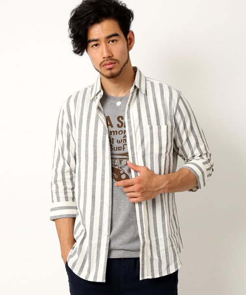 綿麻リネン×ストレッチ×オックスフォード七分袖シャツ