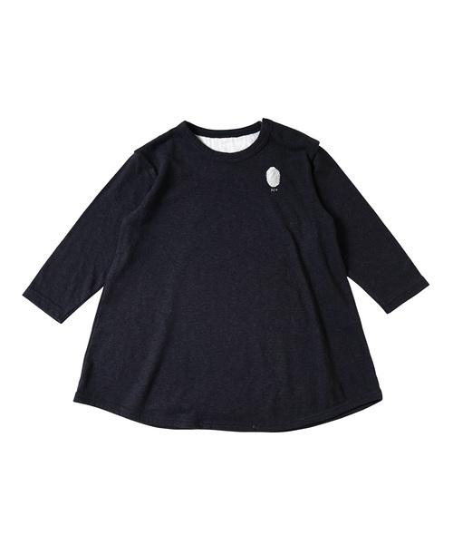 NAOMI ITO(ナオミイトウ)の「Hommage シルクコットン長袖ロングTシャツ(Tシャツ/カットソー)」|ダークネイビー