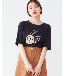 POU DOU DOU(プードゥドゥ)のフリルテープスワンTシャツ(Tシャツ/カットソー)