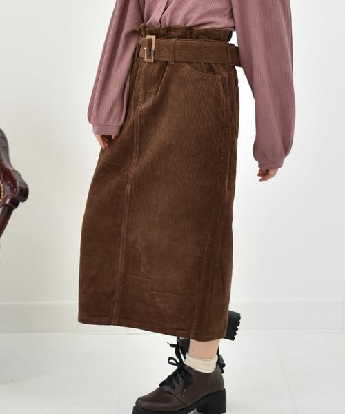 RETROGIRL(レトロガール)の「8コールベルト付ナロースカート(スカート)」|ダークブラウン