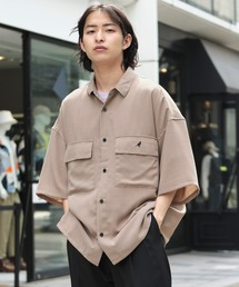 MONO-MART×KANGOL リラックスレギュラー クレリックカラー オーバーサイズ ドレープ 1/2 sleeve CPOシャツベージュ