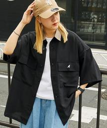 MONO-MART×KANGOL リラックスレギュラー クレリックカラー オーバーサイズ ドレープ 1/2 sleeve CPOシャツブラック系その他