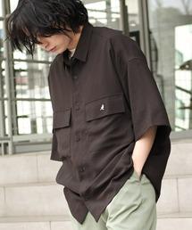 MONO-MART×KANGOL リラックスレギュラー クレリックカラー オーバーサイズ ドレープ 1/2 sleeve CPOシャツグレー系その他