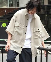 MONO-MART×KANGOL リラックスレギュラー クレリックカラー オーバーサイズ ドレープCPOシャツ(1/2 sleeve)ベージュ系その他
