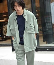 MONO-MART×KANGOL リラックスレギュラー クレリックカラー オーバーサイズ ドレープCPOシャツ(1/2 sleeve)グリーン系その他