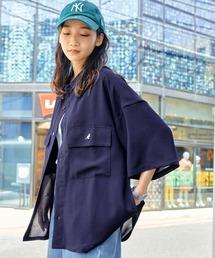 MONO-MART×KANGOL リラックスレギュラー クレリックカラー オーバーサイズ ドレープCPOシャツ(1/2 sleeve)ネイビー