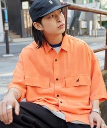 MONO-MART×KANGOL リラックスレギュラー クレリックカラー オーバーサイズ ドレープ 1/2 sleeve CPOシャツオレンジ系その他