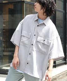 MONO-MART×KANGOL リラックスレギュラー クレリックカラー オーバーサイズ ドレープCPOシャツ(1/2 sleeve)ライトグレー