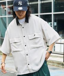 MONO-MART×KANGOL リラックスレギュラー クレリックカラー オーバーサイズ ドレープ 1/2 sleeve CPOシャツベージュ系その他3