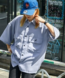 MONO-MART×KANGOL リラックスレギュラー クレリックカラー オーバーサイズ ドレープCPOシャツ(1/2 sleeve)ライトブルー
