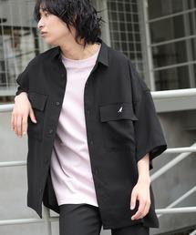 MONO-MART×KANGOL リラックスレギュラー クレリックカラー オーバーサイズ ドレープ 1/2 sleeve CPOシャツブラック