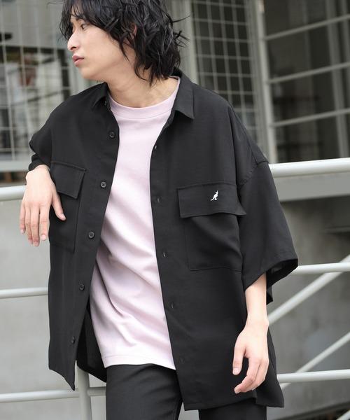 MONO-MART×KANGOL リラックスレギュラー クレリックカラーオーバーサイズCPOシャツ(1/2 sleeve)