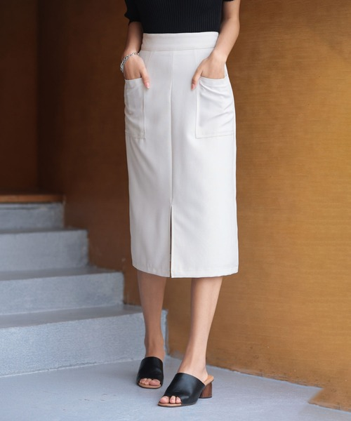 SAISON DE PAPILLON(セゾンドパピヨン)の「センタースリット入りセミタイトスカート(スカート)」|アイボリー