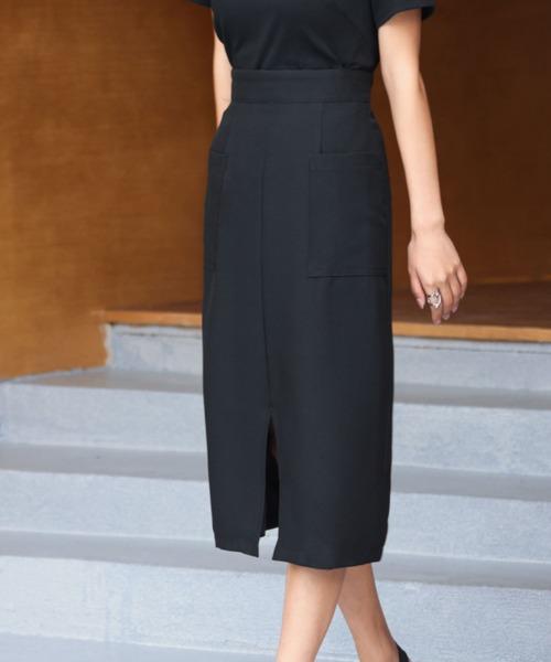 SAISON DE PAPILLON(セゾンドパピヨン)の「センタースリット入りセミタイトスカート(スカート)」|ブラック
