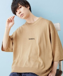 MONO-MART×KANGOL 別注 センター筆記ロゴ刺繍 5分袖ビッグシルエットサマーニットベージュ